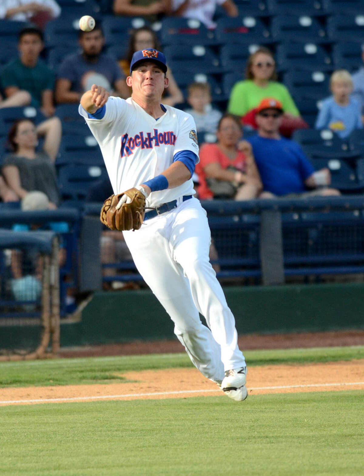 Rockhounds third baseman Ryon Healy fields the ball to first base for an out against Corpus Christi on Tuesday, June 9, 2015, at Security Bank Ballpark. James Durbin/Reporter-Telegram