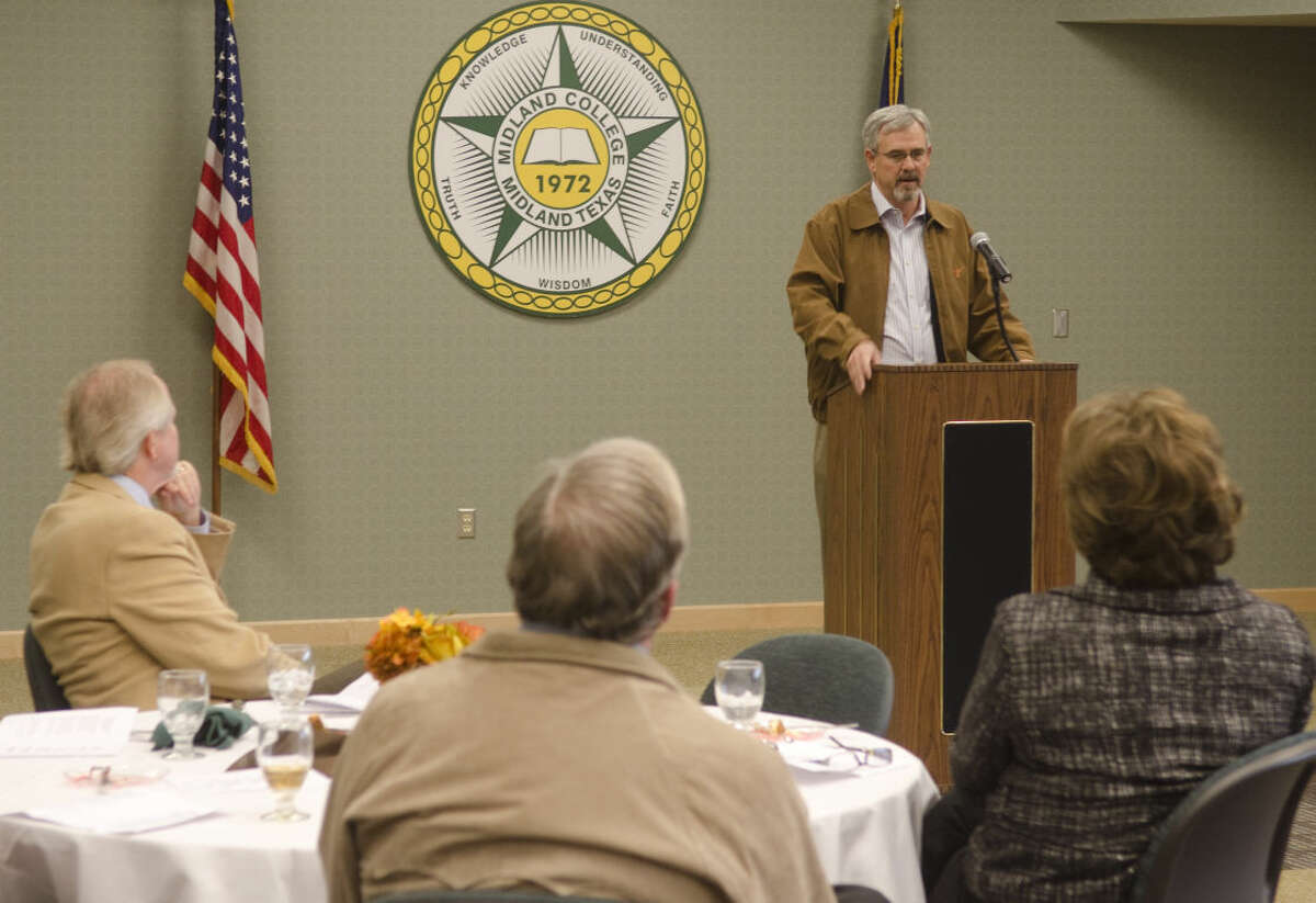 In this 2011 MRT file photo, David Smith, executive director of the Abell-Hanger Foundation, talks about the importance of volunteers at the Midland College Legacy Essay Awards Luncheon. Photo by Tim Fischer/Midland Reporter-Telegram