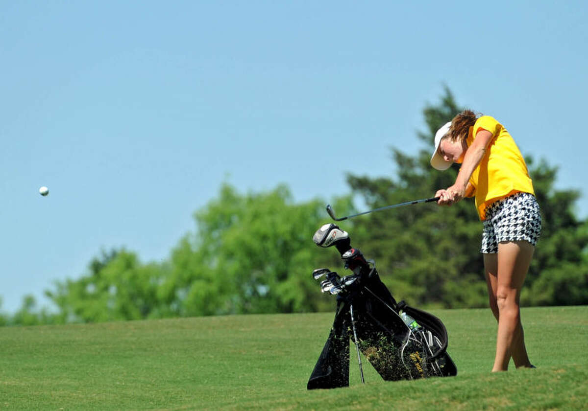 Patrick Johnston/Times Record News Andrews' Sarah Black hits an approach shot on No. 5 at the Wolfdancer Golf Club in Cedar Creek, Texas, during the UIL Class 3A State Golf Tournament on April 28, 2014.