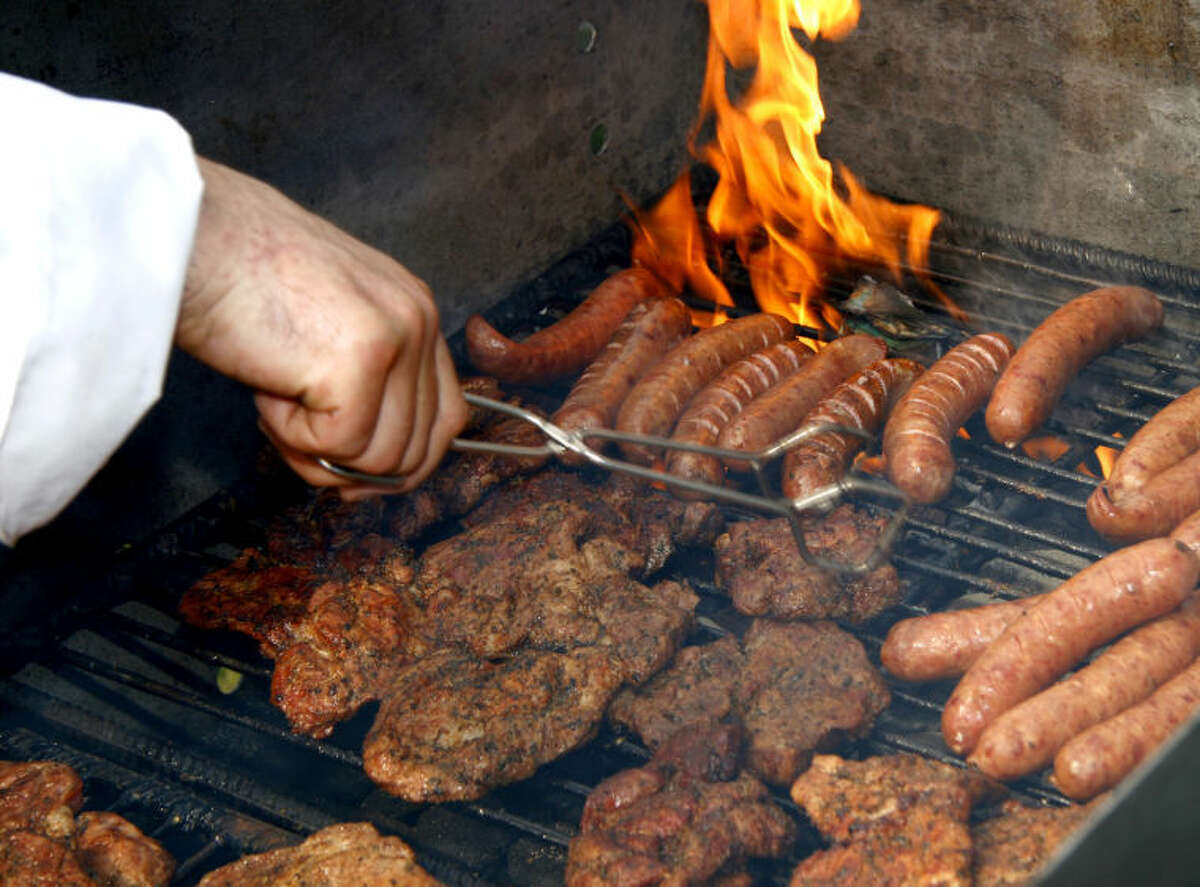 Close up of grilled meat and sausage, outdoor