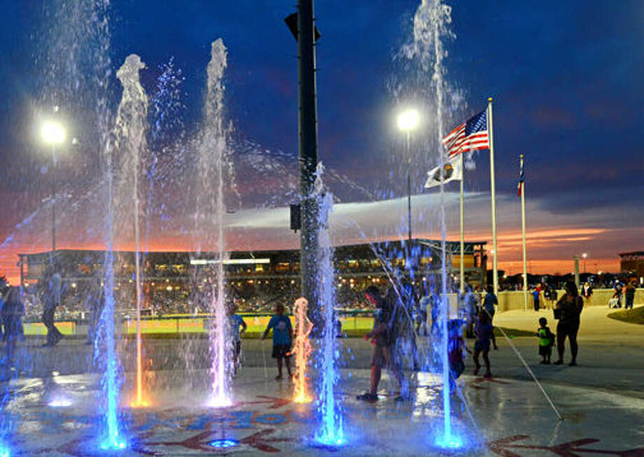 The Splashpad near the outfield wall of Security Bank Ballpark will be open to the public weekends through August, except when Midland RockHounds have home games. Photo: File Photo