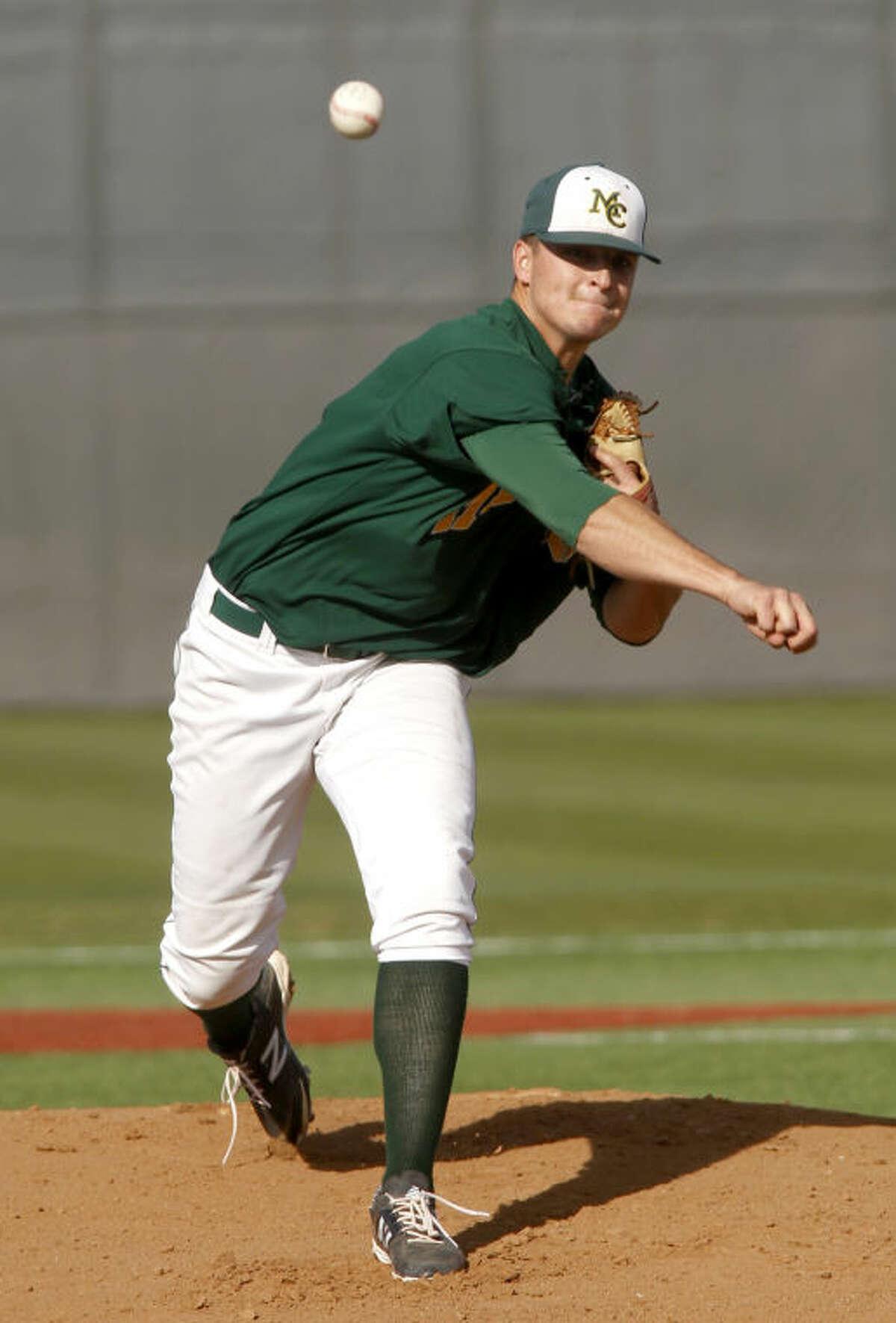 Midland College's Michael Brosig pitches against New Mexico Junior College March 7 at Christensen Stadium. James Durbin/Reporter-Telegram