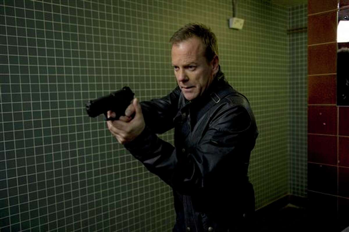 """This image released by Fox shows Kiefer Sutherland in a scene from """"24: Live Another Day,"""" premiering Monday, May 5 at 8 p.m. EDT on Fox. (AP Photo/Fox, Kiefer Sutherland)"""