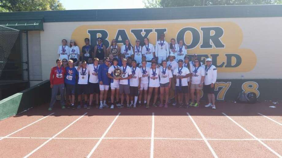 Members of the Midland Christian boys and girls track teams pose after winning state titles on Saturday in Waco.