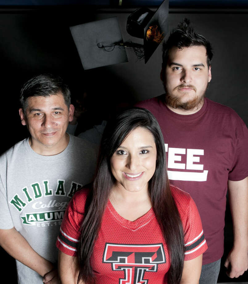 Guzman family from left, Danny Guzman, Sr., gradating from Midland College, Gianna Guzman, graduating from Texas Tech health sciences, and Tommy Guzman, graduating from from Lee High, pose for a portrait Thursday in the MRT studio. James Durbin/Reporter-Telegram Photo: James Durbin