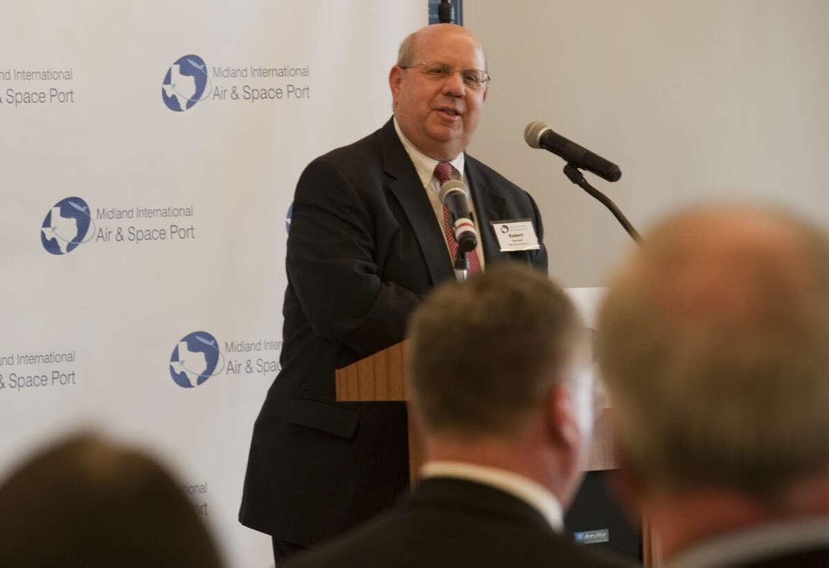 Robert Rendall chairman of the Midland Development Corporation speaks Monday during a press conference at Midland International Air & Space Port. Tim Fischer\Reporter-Telegram