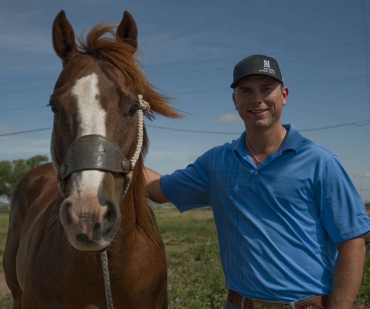 Landon Williams and his horse Smartie, recently won two individual national rodeo titles as well as helping Tarleton State win the overall title at the National Collegiate Finals Rodeo. Wednesday, 6-24-15, Tim Fischer\Reporter-Telegram