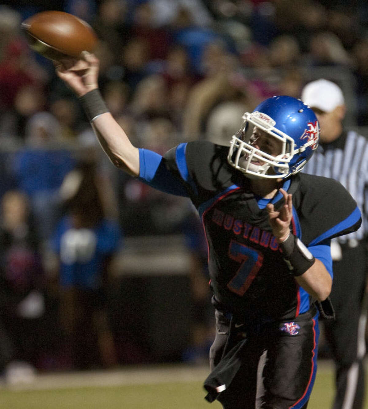 Midland Christian QB Mason McClendon tries to connect with a receiver against Fort Worth Christian Oct. 18 at Mustang Field. Tim Fischer\Reporter-Telegram