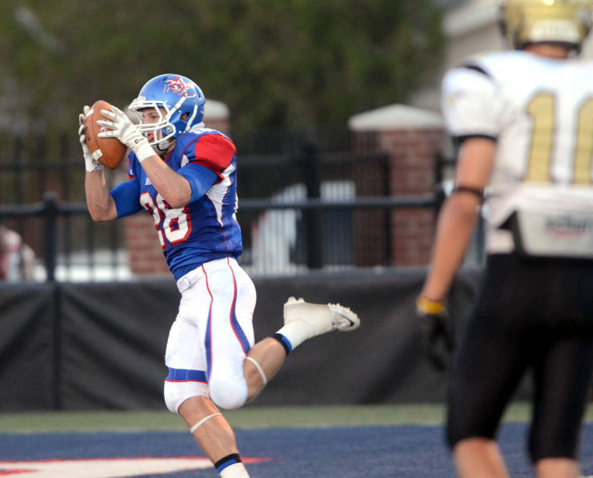 Midland Christian senior wide receiver Jarrod Koym is seen here catching a pass against Big Spring at Mustang Field in September.