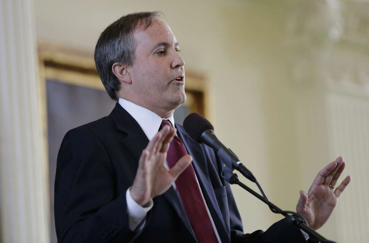 FILE - In this Jan. 5, 2015 file photo, Ken Paxton speaks after he was sworn in as the Texas attorney general in Austin, Texas. (AP Photo/Eric Gay, File)