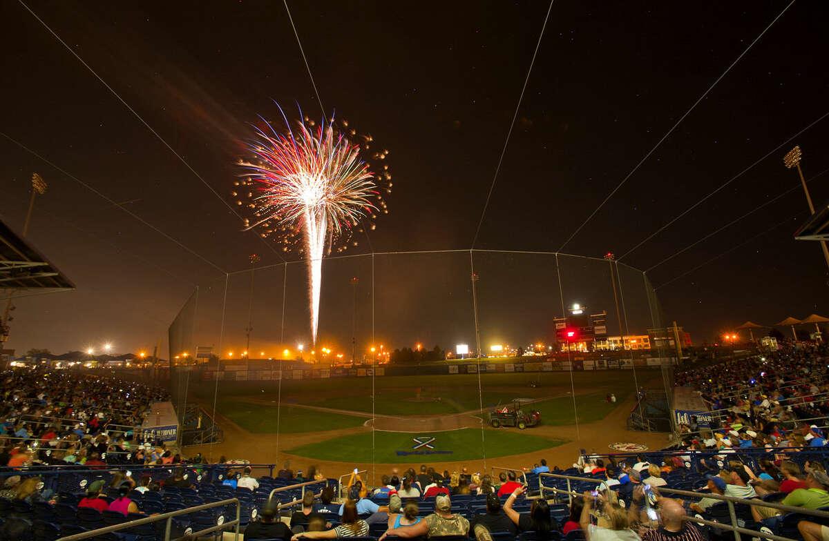 Fireworks over Citibank Ballpark after the RockHounds game against Northwest Arkansas Wednesday. James Durbin/Reporter-Telegram