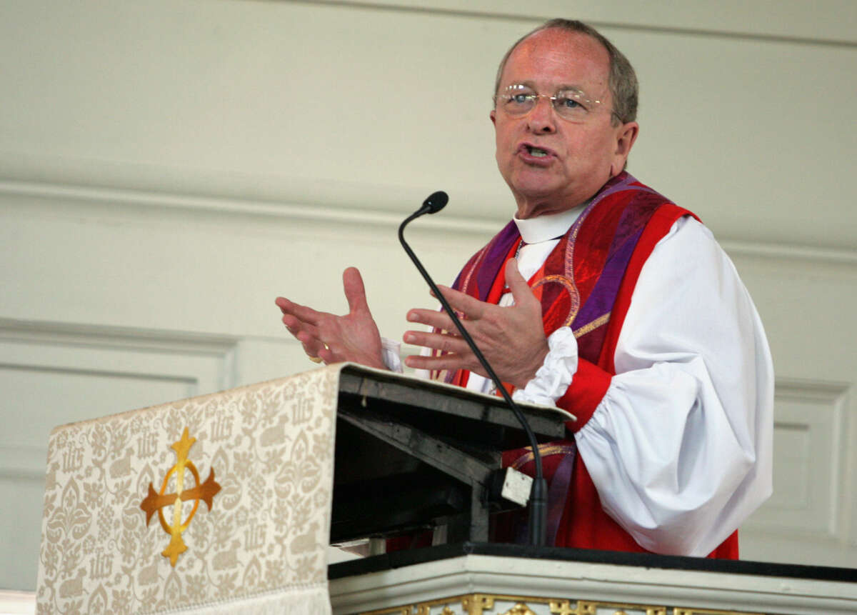 Bishop Gene Robinson addresses the congregation at Christ Church in Philadelphia on May 1, 2005. Robinson, now retired, said he is breathless about how quickly the gay rights movement has progressed since he was getting daily death threats and forced to wear a bulletproof vest to his consecration 12 years ago.