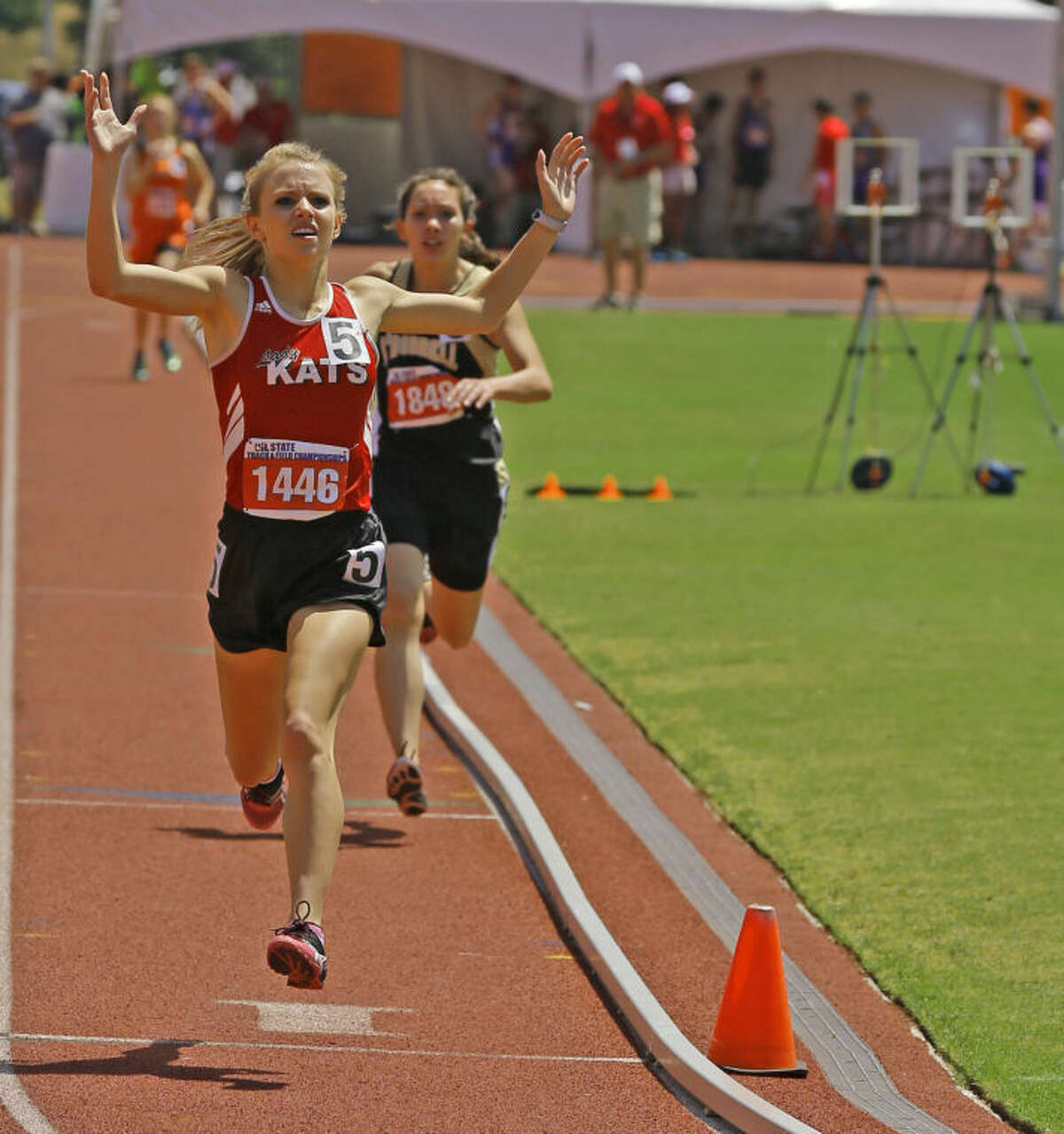 Garden City's Kamie Halfmann wins her fourth gold medal in the last two years at the UIL state Track and Field meet. Halfmann won both the 1,600 and 3,200 meter runs in back-to-back years.