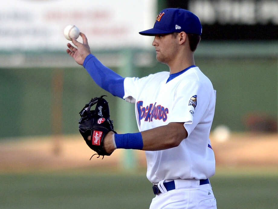 Rockhounds Chad Pinder fields the ball against Arkansas on Thursday, July 2, 2015, at Security Bank Ballpark. James Durbin/Reporter-Telegram Photo: James Durbin