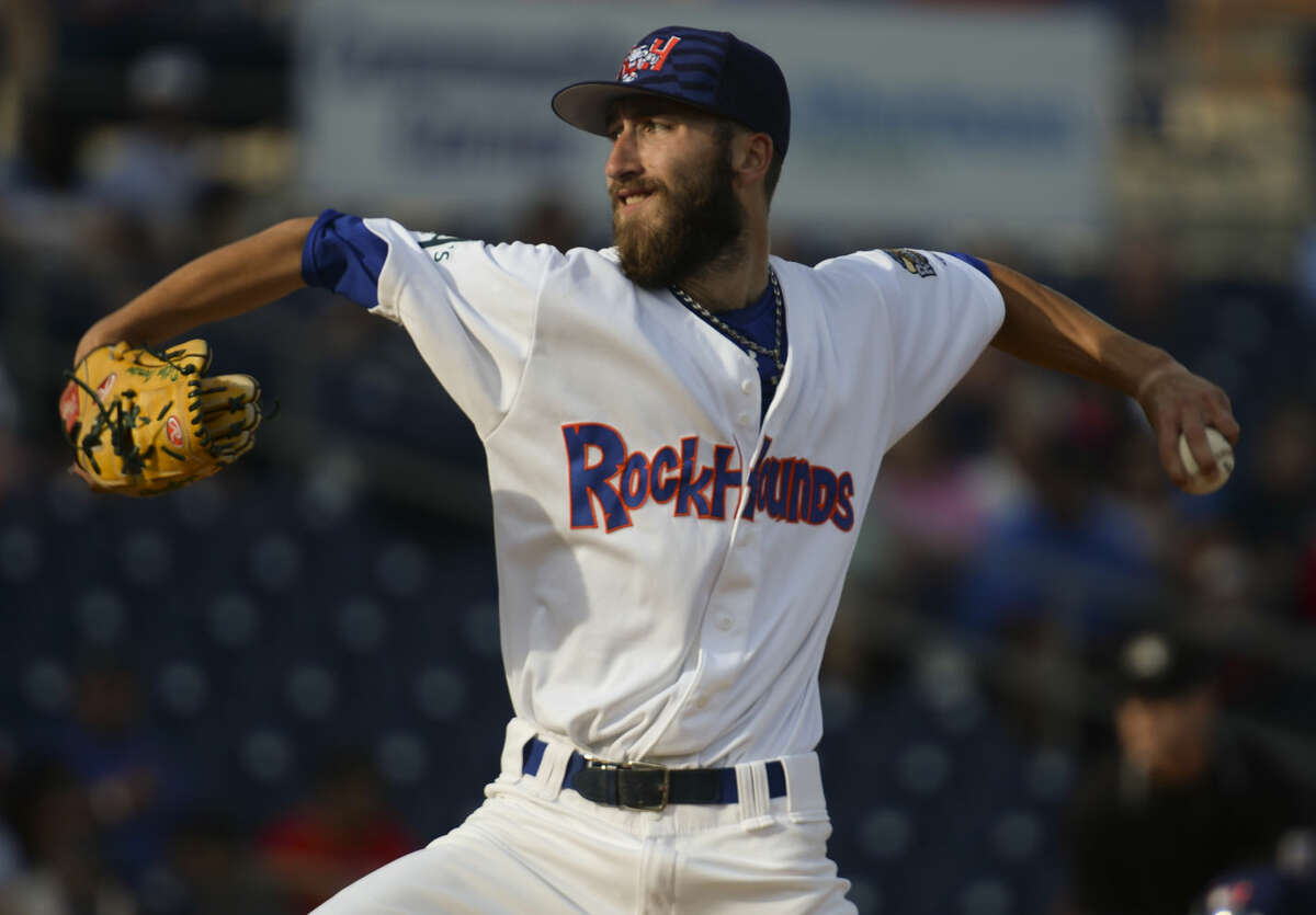 Hounds starting pitcher Dillon Overton delivers a pitch Friday 7-3-15, against the Arkansas Travelers. Tim Fischer\Reporter-Telegram