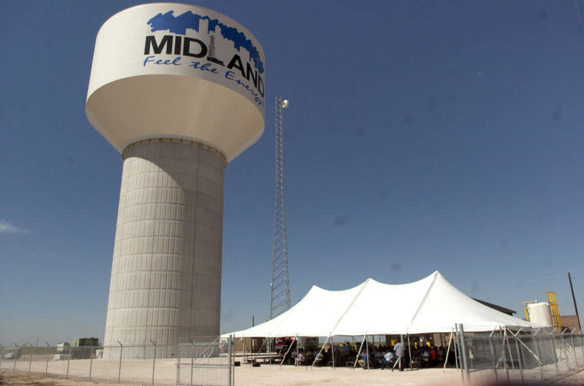 T-Bar ribbon cutting ceremony Friday at the elevated storage tank near 191 and 1788. James Durbin/Reporter-Telegram