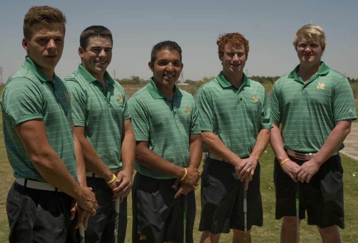 Midland College golf team, David Wicks, Ryder Skillern, Russell Lara, Trace Morrow and Oswin Schlenkrich. Tim Fischer\Reporter-Telegram