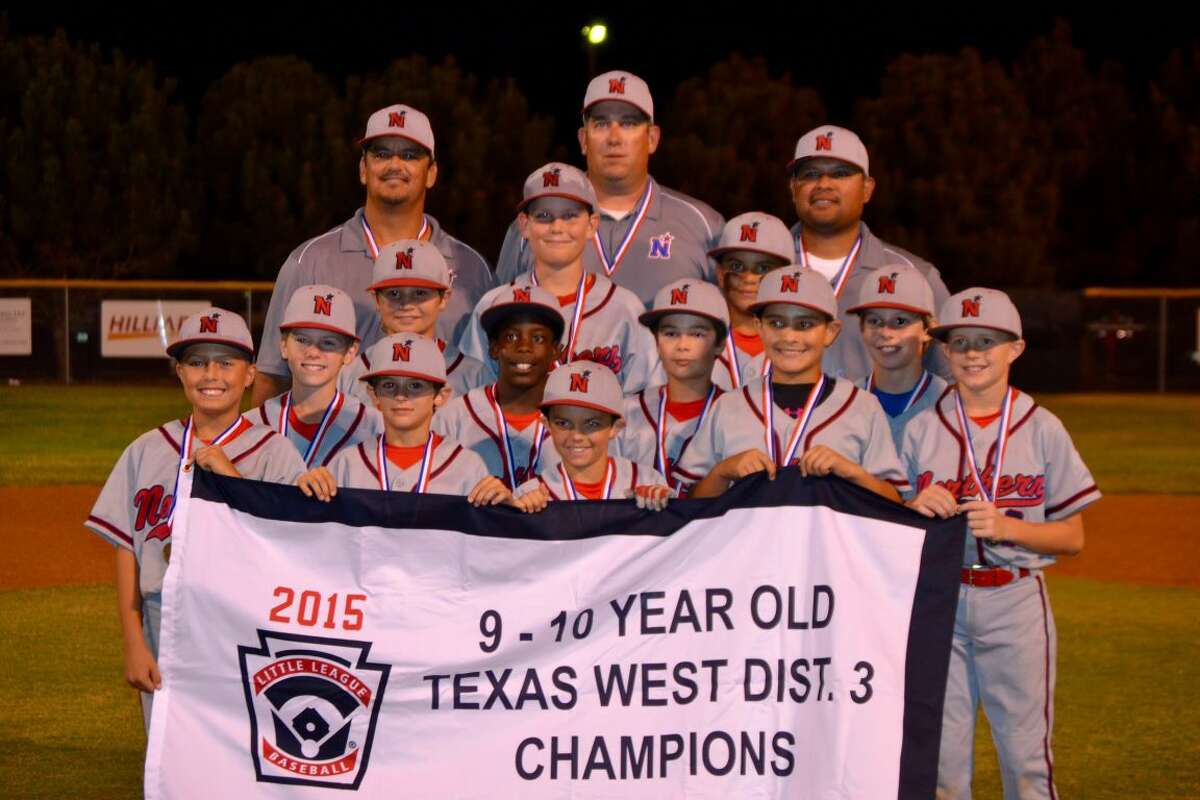 The Northern Little League 9-10 year old all-stars went 7-1 during their 10-day tournament to claim the Texas West District 3 Championship. Pictured in the front row, left to right, are: Jaron Gignac, Connor Jordan, Houston Jordan, Christian Wiggins and Tyler Wood. The middle row (left to right) consists of Parker Pruitt, Canyon Moses, Troy Bostick and Evan Letcher. Standing in the back row (left to right) are: Cole Jordan, Chase Shores and Marcos Davila. The coaches (left to right) include Danny Jordan, manager Bryan Shores and Caesar Davila.