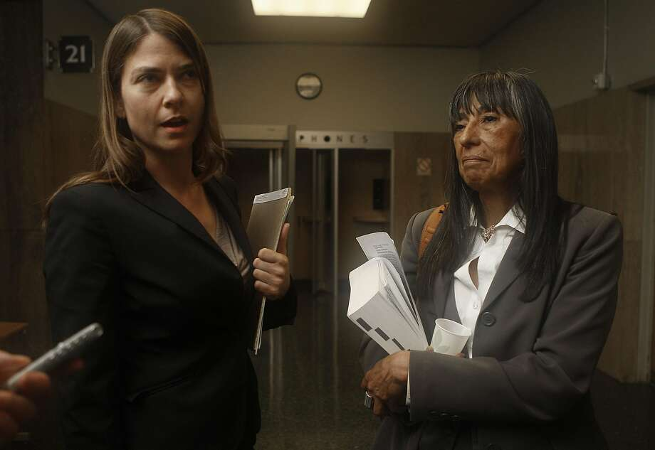 Marla Zamora (right), shown with attorney Andrea Lindsay, was found stabbed to death at her home. Photo: Liz Hafalia, The Chronicle