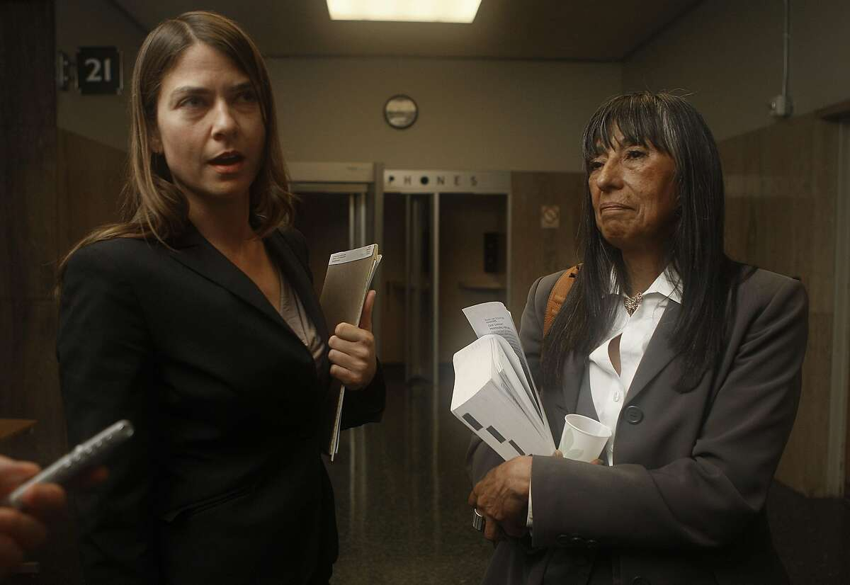 Edwin Ramos' defense attorneys Andrea Lindsay (left) and Marla Zamora (right) comment on the hearing at the Hall of Justice in San Francisco, Calif., on Monday, June 4, 2012. Edwin Ramos, 25, was convicted of the mistaken-identity murders of Lena's San Francisco son and two grandsons.