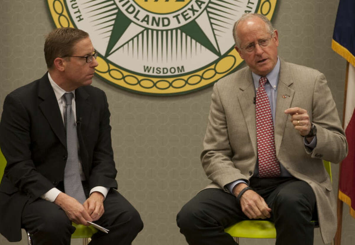 Rep. Mike Conaway is interviewed by Texas Tribune's Evan Smith Tuesday at Midland College. Tim Fischer\Reporter-Telegram