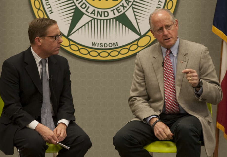 Rep. Mike Conaway is interviewed by Texas Tribune's Evan Smith Tuesday at Midland College. Tim Fischer\Reporter-Telegram Photo: Tim Fischer