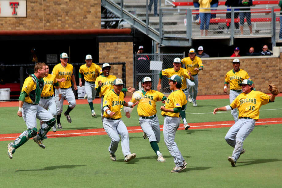 MC Baseball players run onto the field to celebrate after winning the Region V baseball tournament championship on Tuesday at Rip Griffin Park in Lubbock. Shelby Jones/Special to the MRT