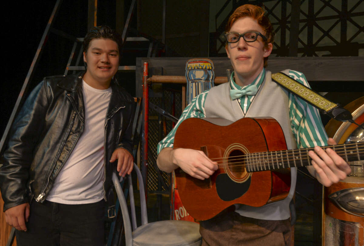 Jack Smith as Chad and Jamie Edge as Dennis, holding his guitar, for MCT's production of All Shook Up. Wednesday 7-1-15, Tim Fischer\Reporter-Telegram