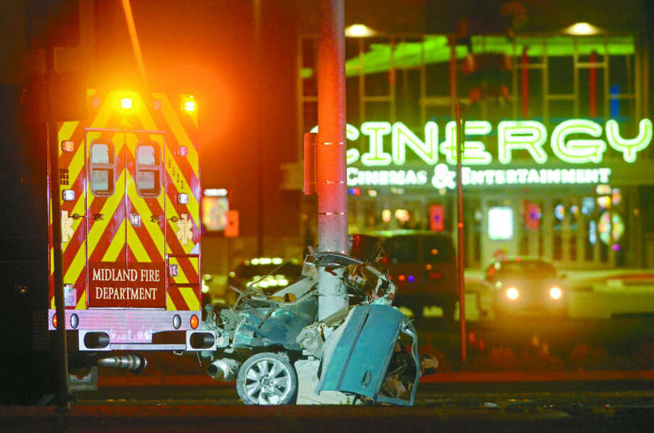 Odessan Miguel Angel Vallejo, 19, died Wednesday night in this one-vehicle crash on Business 20 near Loop 250. Photo: James Durbin/Reporter-Telegram
