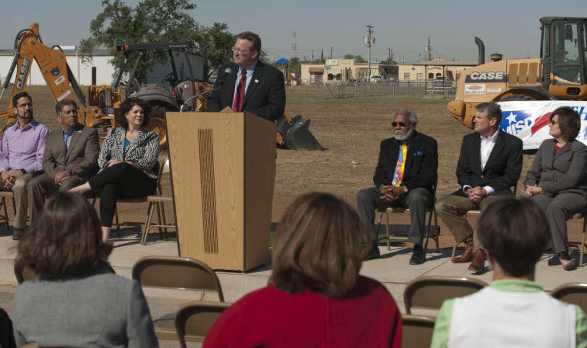 MISD Superintendent Ryder Warren speaks Thursday at the Bunche Elementary ground breaking ceremony. Tim Fischer\Reporter-Telegram