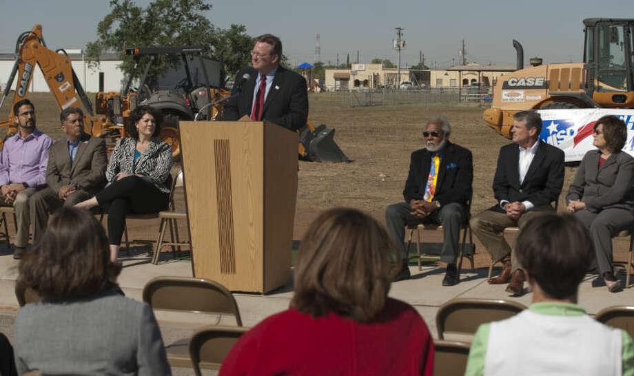 MISD Superintendent Ryder Warren speaks Thursday at the Bunche Elementary ground breaking ceremony. Tim Fischer\Reporter-Telegram Photo: Tim Fischer