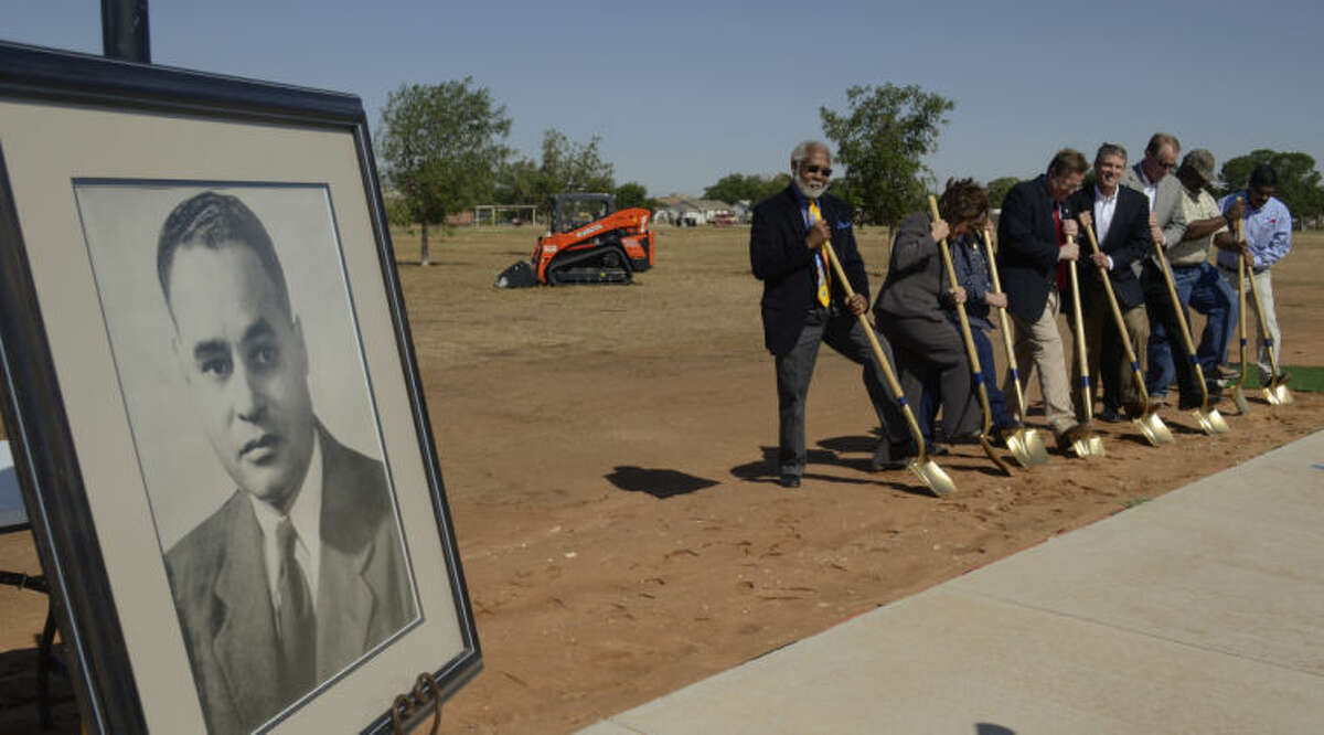 A portrait of the schools namesake, Ralph Bunche, was on display Thursday as school board mebers break ground for the new Bunche Elementary. Tim Fischer\Reporter-Telegram