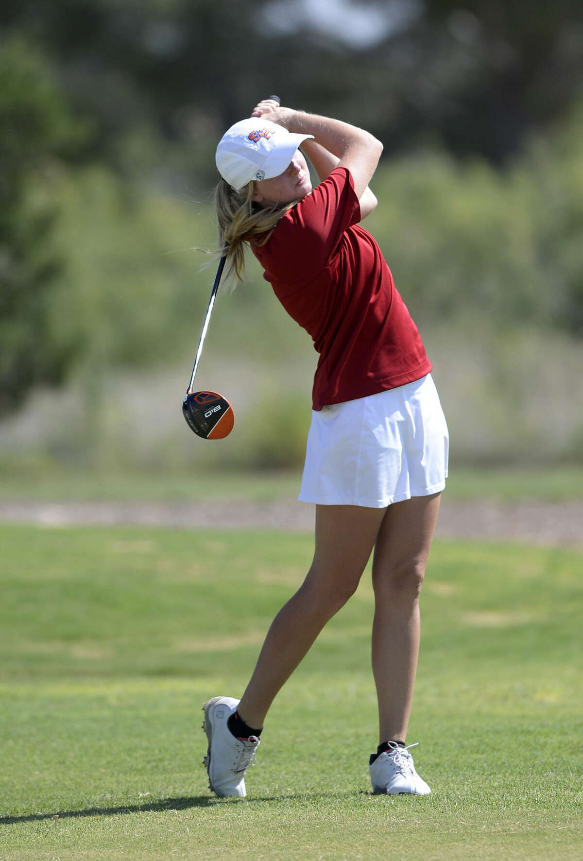 Sarah Black tees off during the second round of the Midland Women's City Golf Tournament on Tuesday, July 14, 2015 at Hogan Park Golf Club. James Durbin/Reporter-Telegram