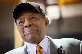 Willie Mays smiles as he is honored with a cable car named for him on Friday, May 6, 2016 in San Francisco, Calif. Mays, a San Francisco Giants legend and Baseball Hall of Famer, turned 85 today. Cable car No. 24, the same number he wore when he played for the S.F. Giants, was dedicated and named after Mays.