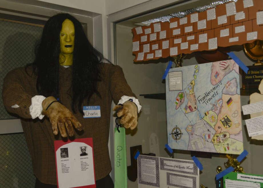 Trinity School seniors made Frankenstein monsters for class. Tim Fischer\Reporter-Telegram Photo: Tim Fischer