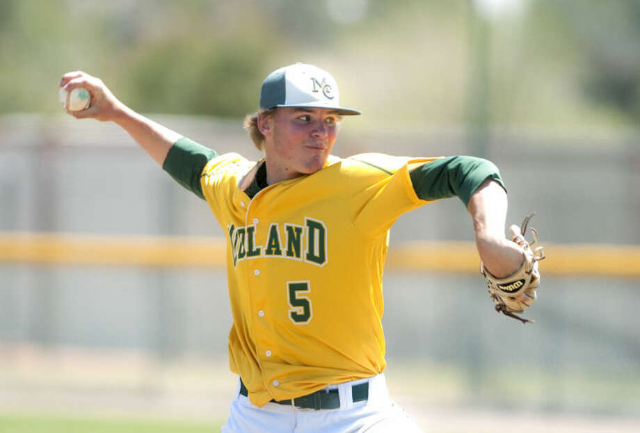 Midland College's Thomas McIlraith pitches against Clarendon Saturday at Christensen Stadium. James Durbin/Reporter-Telegram Photo: JAMES DURBIN
