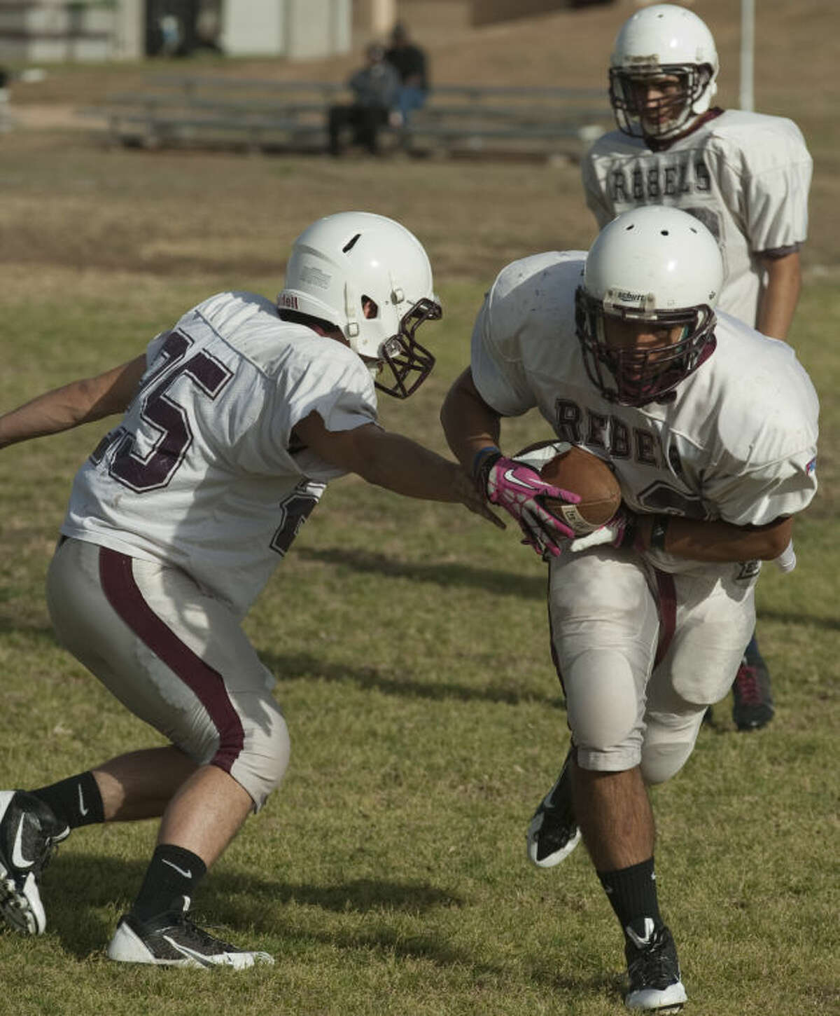 Lee High players run drills Tuesday on the first day of Spring football practice. Tim Fischer\Reporter-Telegram
