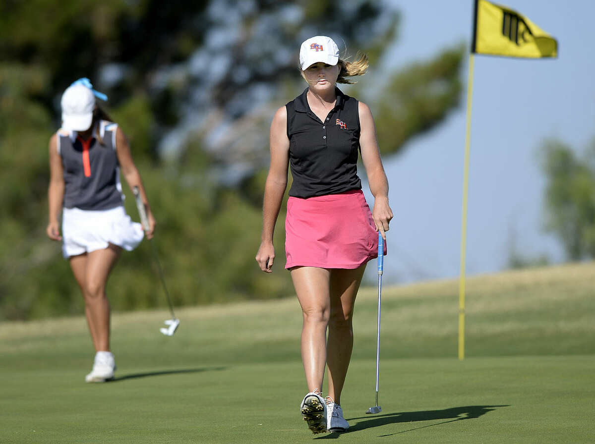 Sarah Black walks off the green after winning the fourth hole against Faith DeLaGarza during the final round of the Midland Women's City Golf Tournament on Thursday, July 16, 2015 at Midland Country Club. James Durbin/Reporter-Telegram