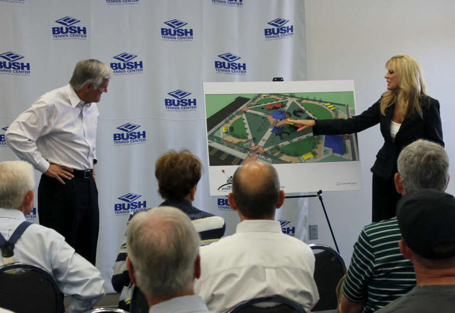 Steve and Jan Davidson talk about the new Chris Davidson Opportunity Park to be constructed west of the Bush Tennis Center on Briarwood Avenue. Photo: Courtesy Of Bush Tennis Center