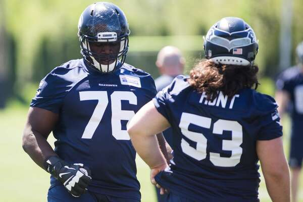 Rookie Germain Ifedi, left, and rookie Joey Hunt seen during the first day of the Seattle Seahawks NFL football rookie minicamp on Friday, May 6, 2016 at Virginia Mason Athletic Center. (GRANT HINDSLEY, seattlepi.com)