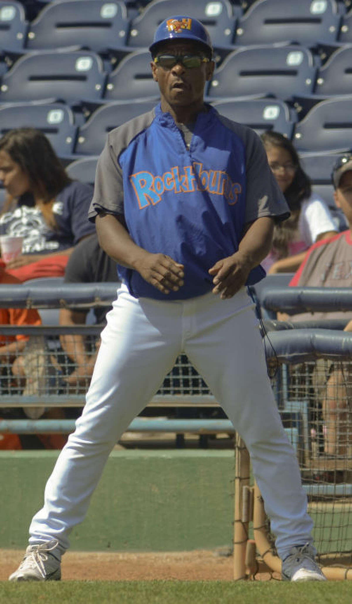 Former baseball all star Rickey Henderson is in town helping the RockHounds and coaching from first base Tuesday afternoon at CitiBank Ballpark. Tim Fischer\Reporter-Telegram