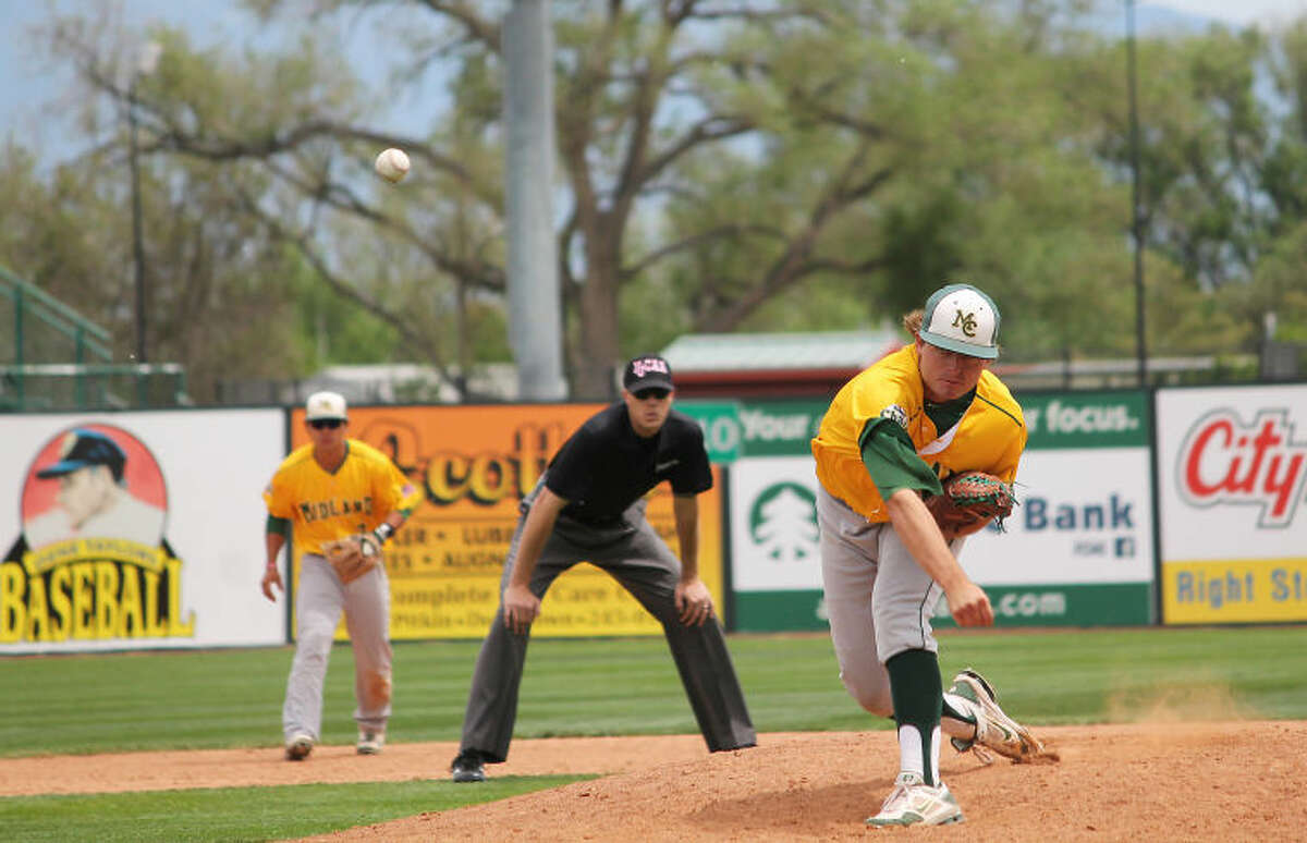 Midland College pitcher Brandon Courville throws a pitch during Saturday's game against Johnson County College at the JUCO World Series in Grand Junction, Colorado.Photo by Buddy Brown/Special to the MRT