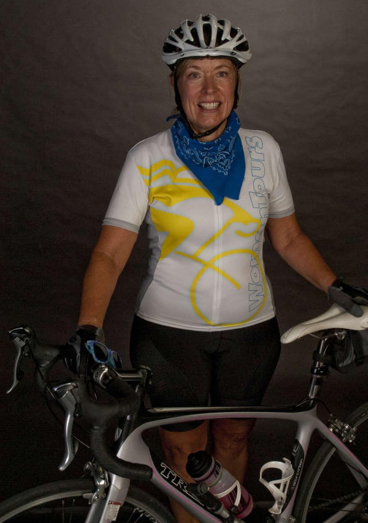 Gail Strain, biking across the continent. Tim Fischer\Reporter-Telegram