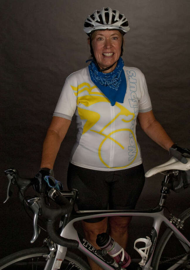 Gail Strain, biking across the continent. Tim Fischer\Reporter-Telegram Photo: Tim Fischer