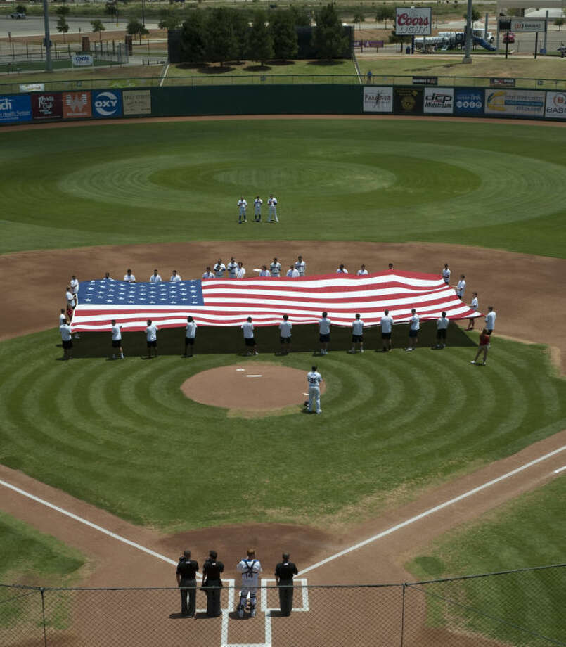 The Midland RockHounds honor military members, serving and retired, Monday during the Memorial Day game at Security Bank Ballpark. Tim Fischer\Reporter-Telegram Photo: Tim Fischer