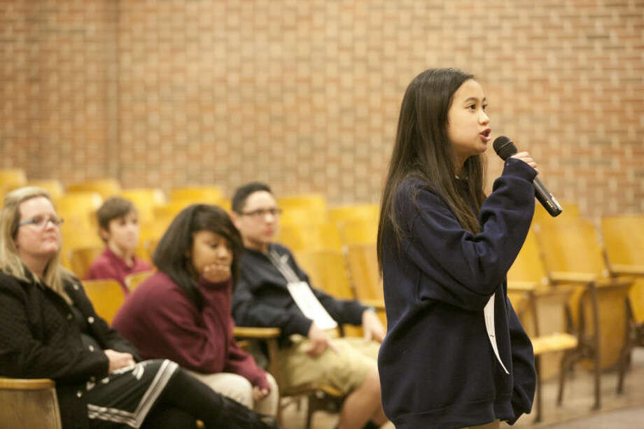 6: Years of subscriptions to an online encyclopedia Rubio spellers have won.Photo: Gabby Rubio competes in the Alamo Junior High spelling bee on Wednesday at Alamo Junior High. Gabby Rubio won the 2013 Midland Reporter-Telegram Regional Spelling Bee and finished first place in the Alamo Bee. James Durbin/Reporter-Telegram Photo: James Durbin