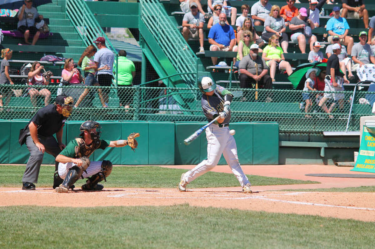 MC's Chris Shaw hits the first of two home runs on Tuesday at JUCO World Series in Grand Junction, Colo.Photo by Buddy Brown/Special to the MRT