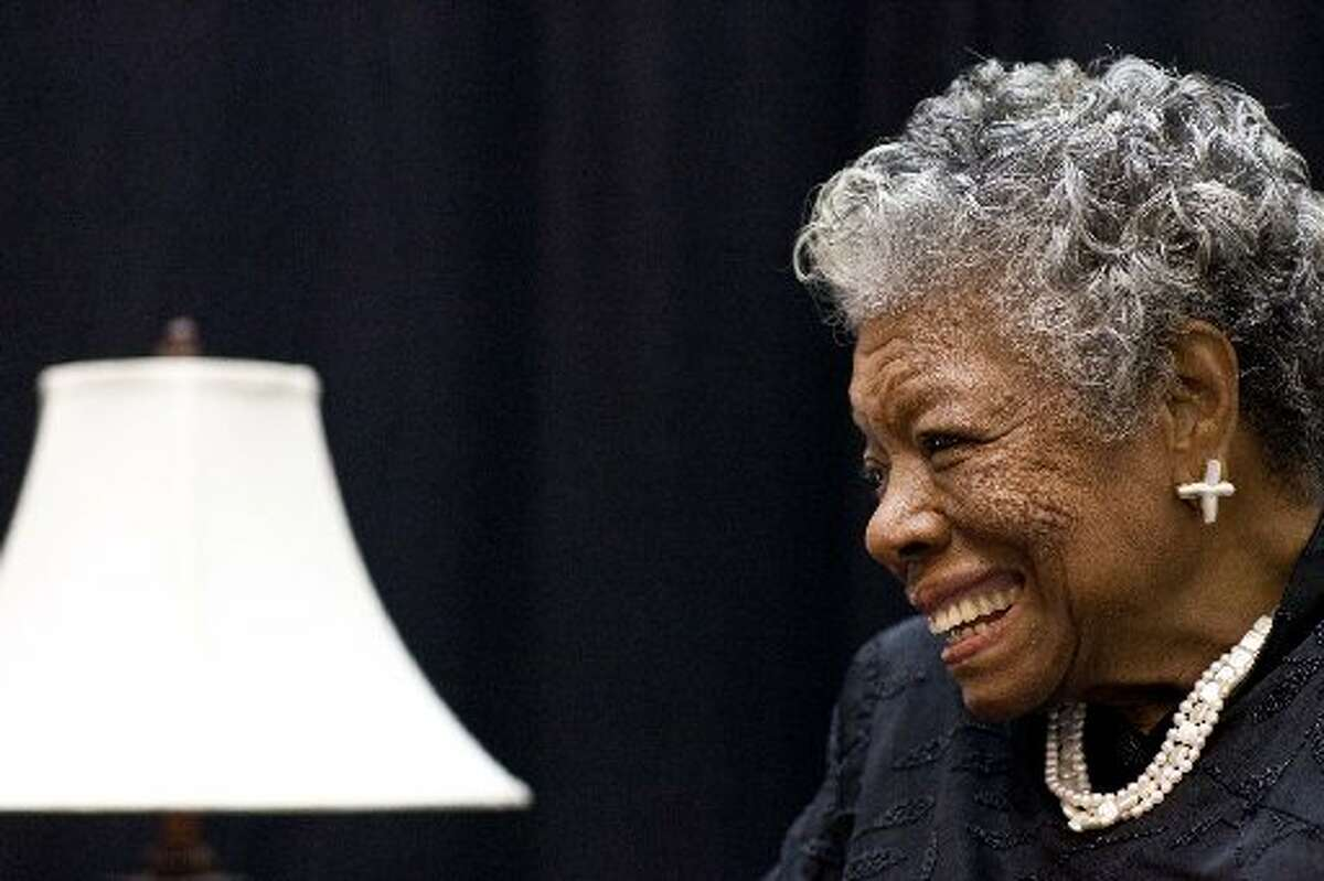 Poet and civil rights activist Maya Angelou speaks at the University of Texas of the Permian Basin in 2010.