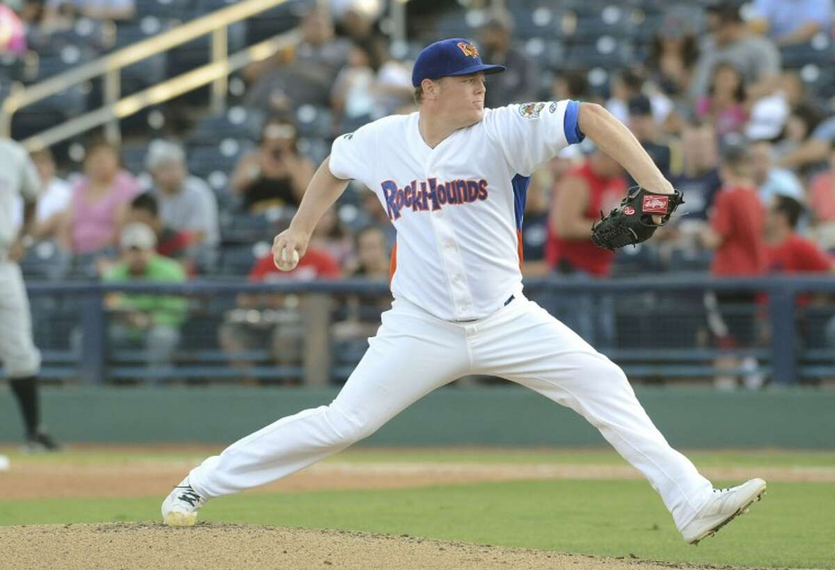 Shawn Haviland winds up to throw a pitch Thursday during the RockHounds game against the Naturals at Citibank Ballpark. Cindeka Nealy/Reporter-Telegram