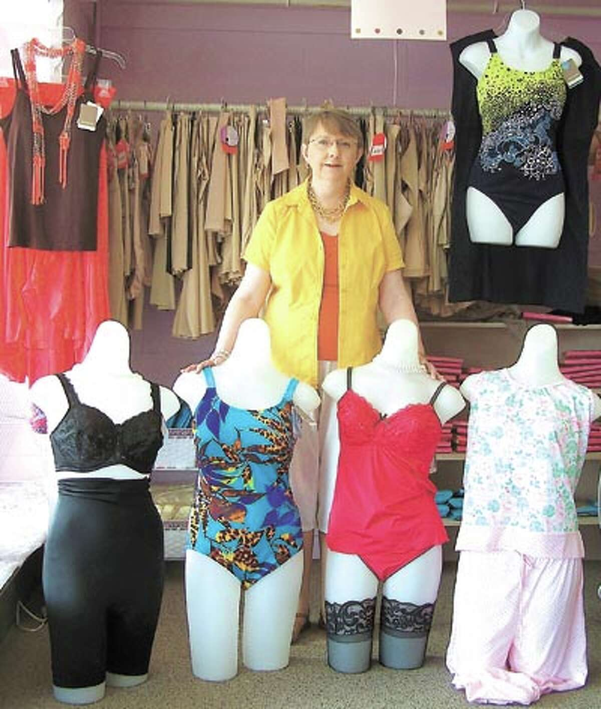 Swimsuits in this year's fashion colors are ready for you to try on at The Pennyrich Shop, 311 Dodson Street in Old Town Midland.